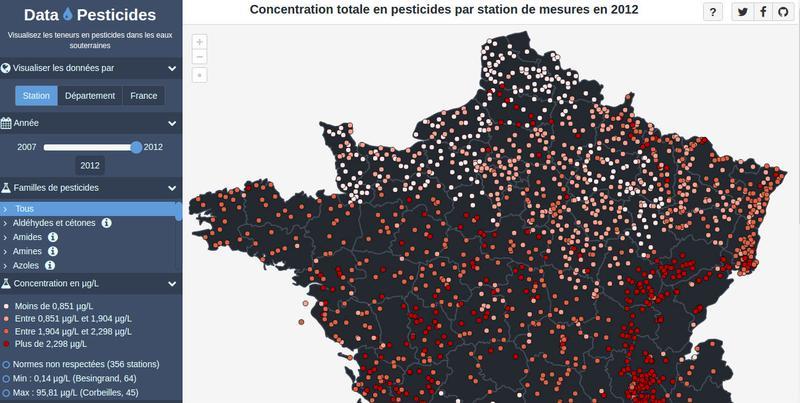 Cartographie des mesures de concentration de produits phytosanitaires dans les nappes d'eau souterraines en France