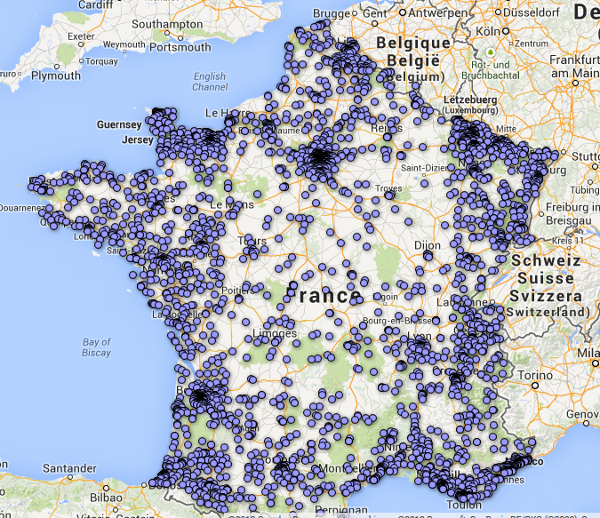 Carte de France des 22 100 pharmacies