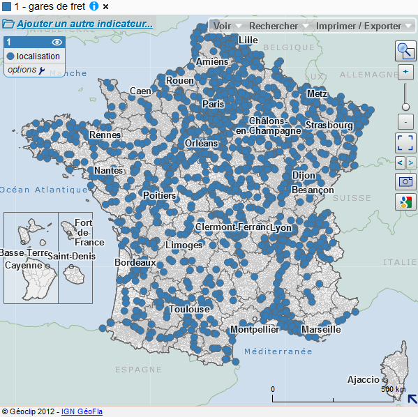 carte des gares de fret en France